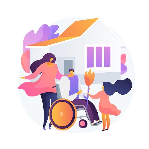障害者の適応。社会的包摂、障害者のためのヘルスケア、家族の支援。車椅子で夫に挨拶する妻と子。 無料ベクター