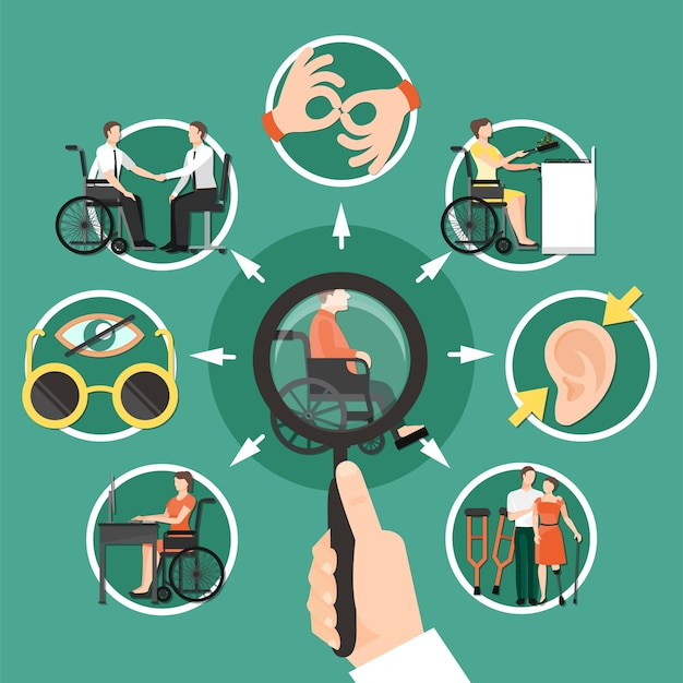 Disabled person composition with isolated icon set combined around disabled person who is sitting in a wheelchair Free Vector