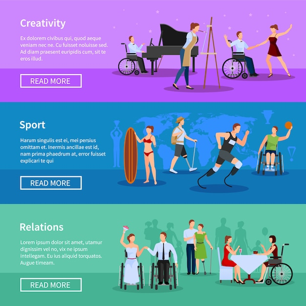 Disabled persons full life online information flat horizontal banners set webpage design abstract isolated vector illustration Free Vector