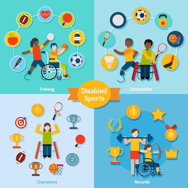 Disabled sport set Free Vector