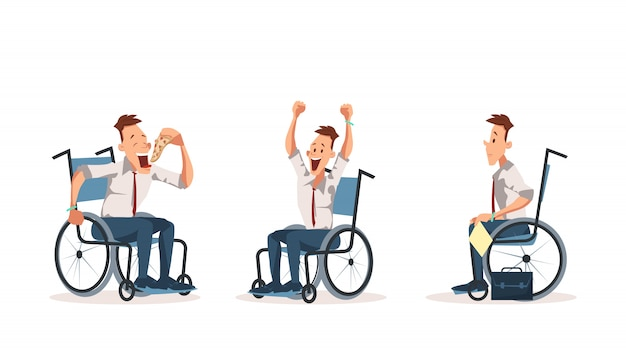 Disabled wheelchair coworker express emotion set Premium Vector