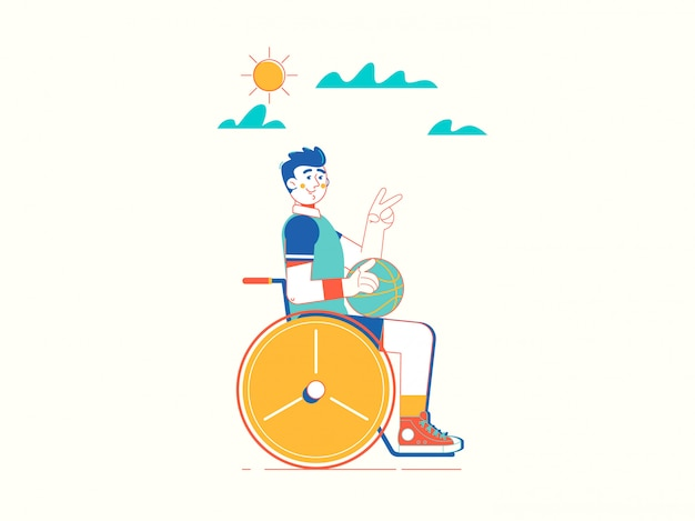 Disabled young sportsman in wheelchair Premium Vector