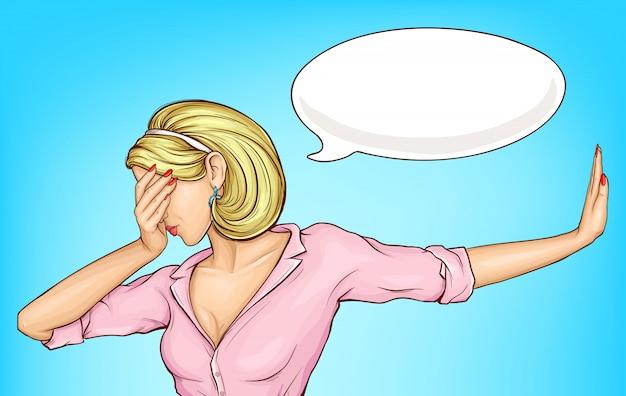 Разочарованная женщина делает лицевой мультфильм Бесплатные векторы