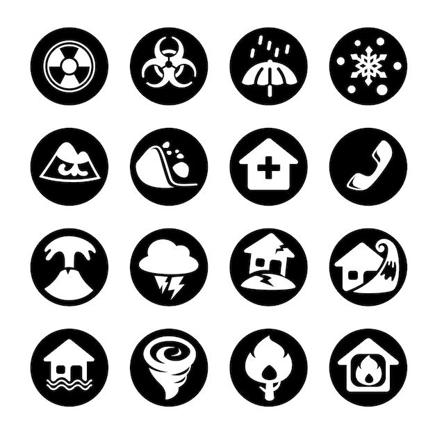 Disaster icons. Premium Vector