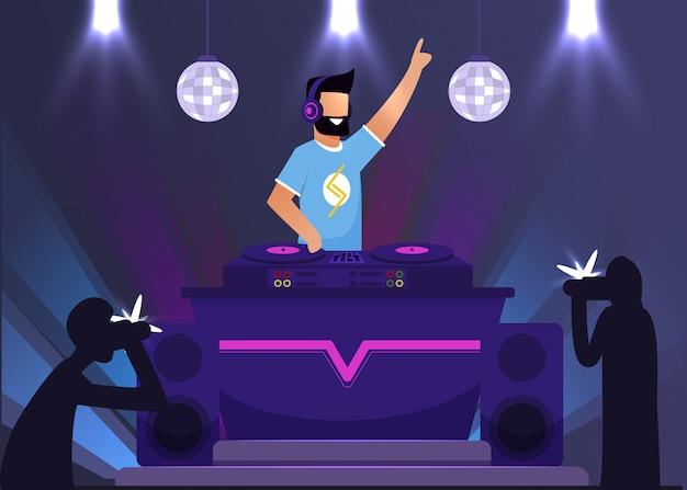 Диск-жокей супер стар в ночном клубе и папарацци Premium векторы