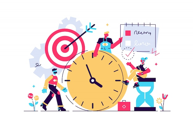 Discipline illustration. flat tiny self control system persons concept. abstract target and to do list symbolic success lifestyle with productive time management and goal effort development. Premium Vector