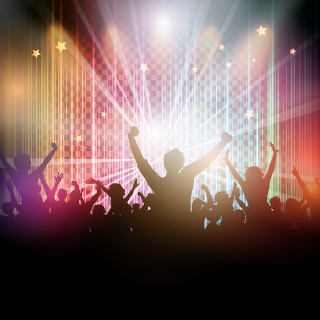 Disco background with party crowd\ silhouette