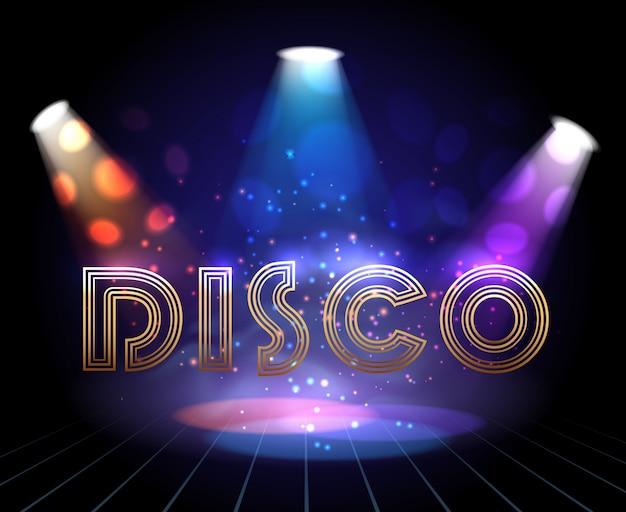 Disco background with spotlights Premium Vector