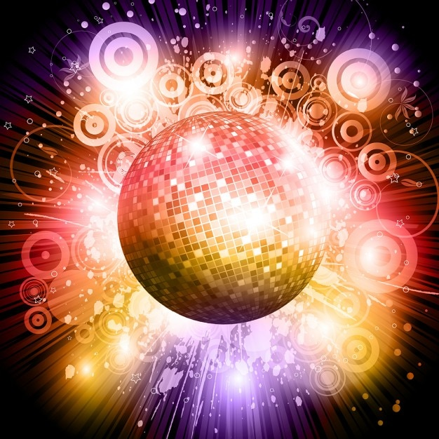 Disco ball background Free Vector