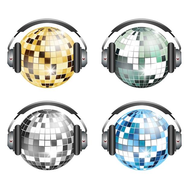 Disco ball background Premium Vector