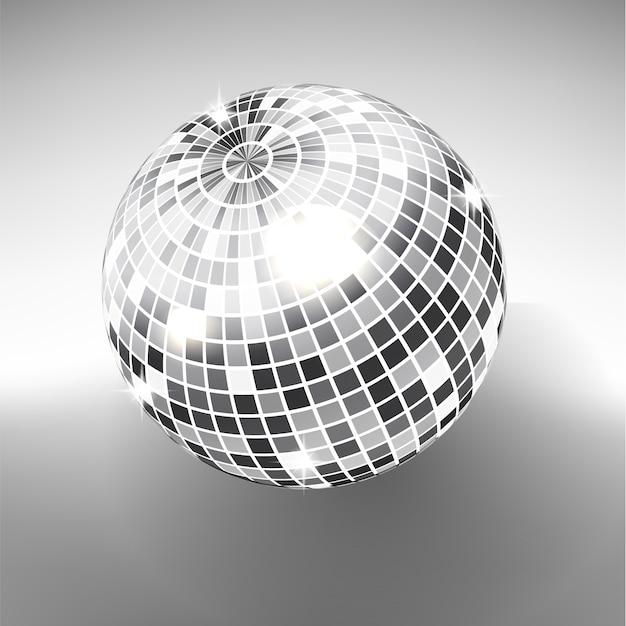 Шарик диско изолированный на предпосылке серой шкалы. ночной клуб участник света элемент. яркий зеркальный серебряный шар для диско-танцевального клуба. Premium векторы