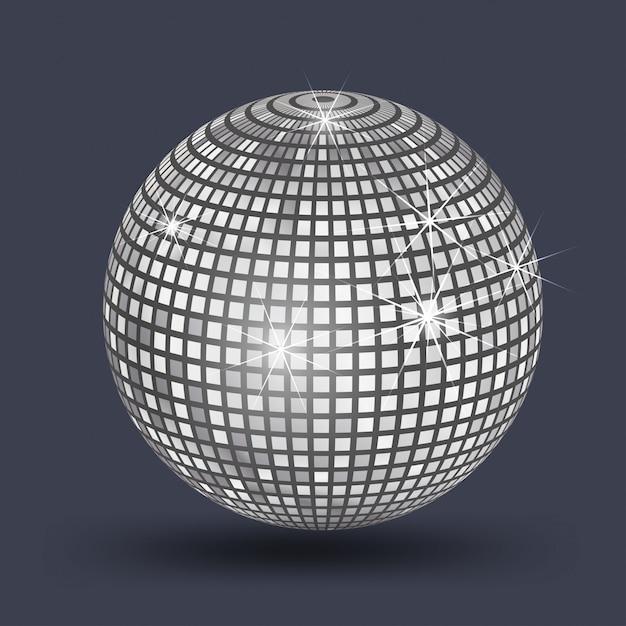 Disco ball, mirror ball silver Premium Vector