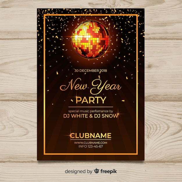 Disco ball new year poster template Free Vector