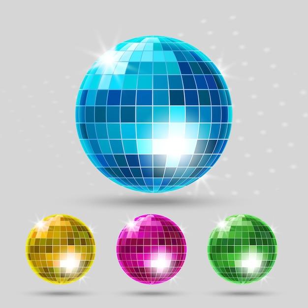 Set palla da discoteca. sfera del club, riflesso brillante, intrattenimento da ballo. Vettore gratuito