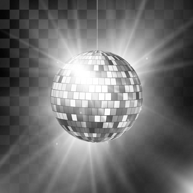 Дискотечный шар с яркими лучами и боке. ночной клуб ретро-фон 80-х годов. Premium векторы