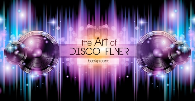 Disco club banner background for music nights event. Premium Vector