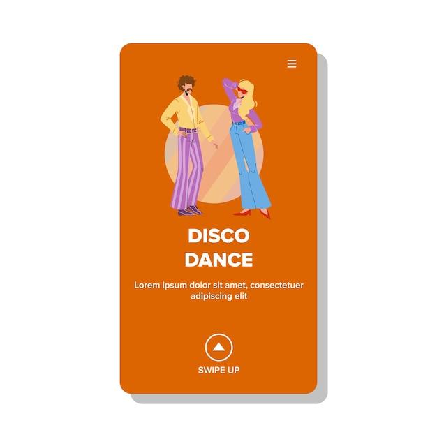 Диско-танцевальная вечеринка в стиле ретро в ночном клубе Premium векторы
