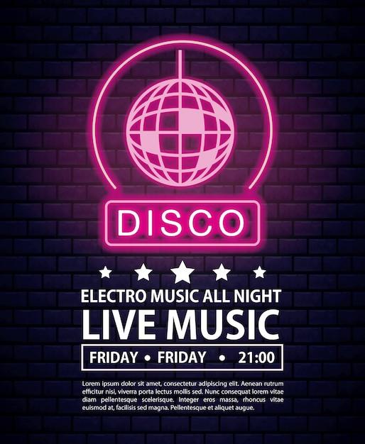 Disco electro music invitation poster neon lights colors Premium Vector