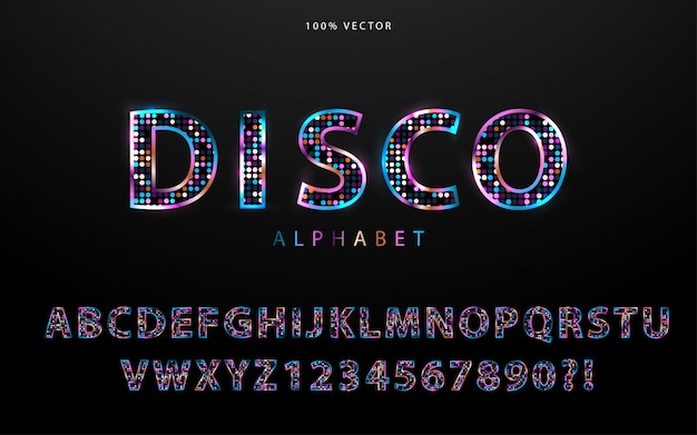 Disco light style alphabet Premium Vector