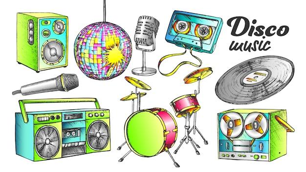 Disco music color elements ink set Premium Vector