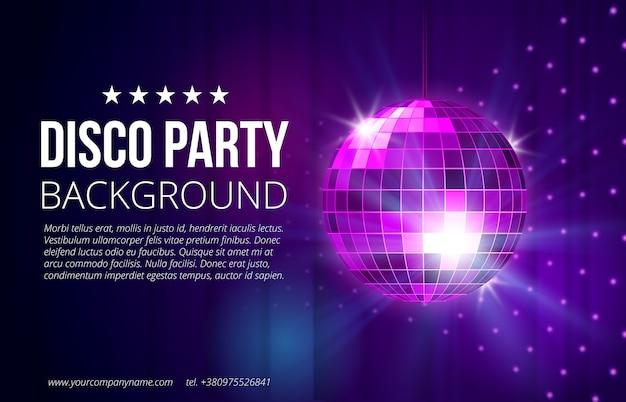 Sfondo festa in discoteca. palla, discoteca e vita notturna, sfera luminosa e brillante, illustrazione vettoriale Vettore gratuito