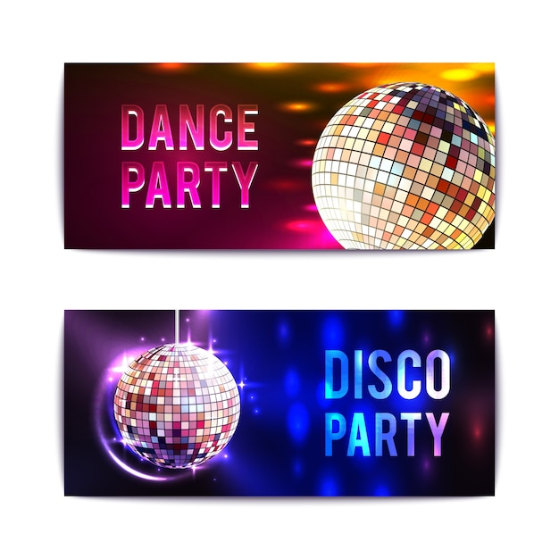 Disco party banners horizontal Free Vector
