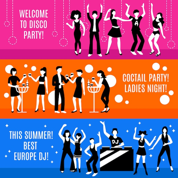 Disco party banners set Free Vector