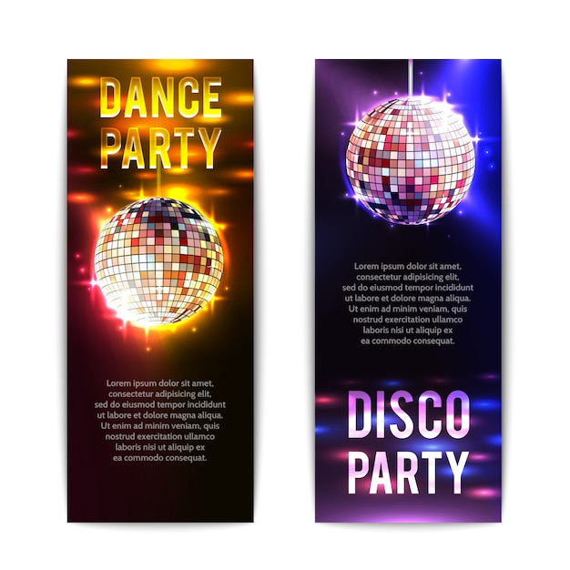 Disco party banners vertical Free Vector