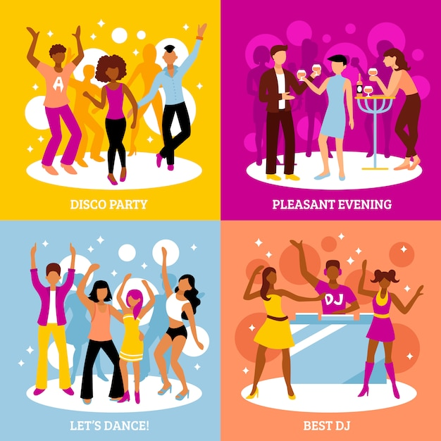 Disco party characters set Free Vector