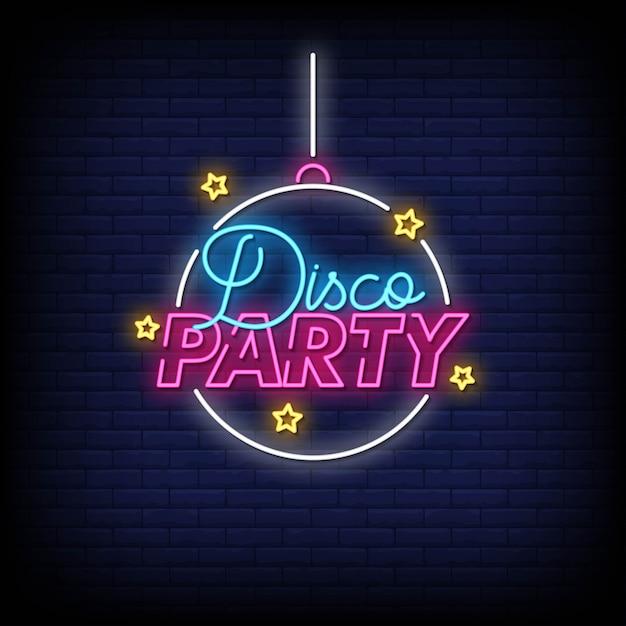 Disco party neon signs style text vector Premium Vector