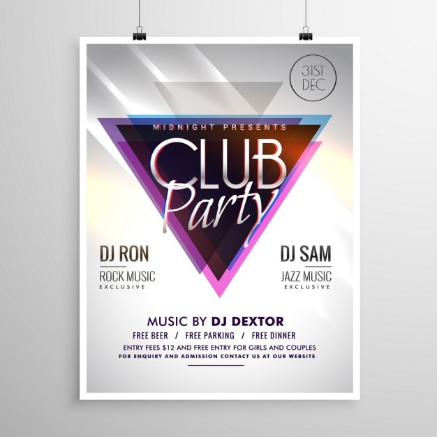 disco party poster template with triangle Vector | Free Download