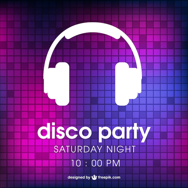 Disco party poster with headphones Free Vector