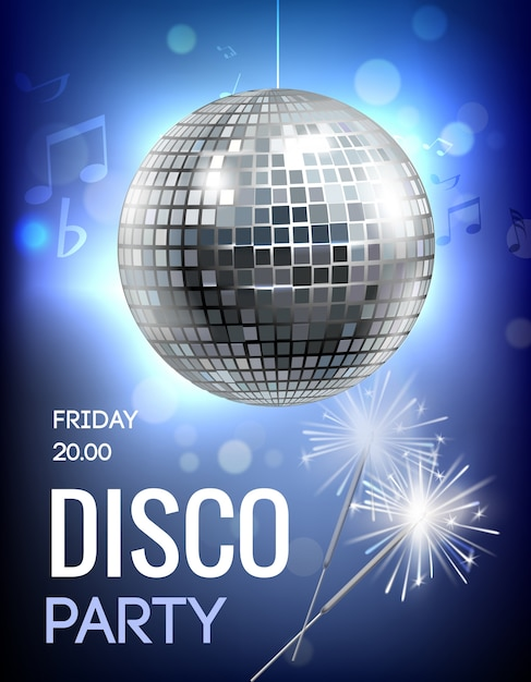 Disco party poster Free Vector