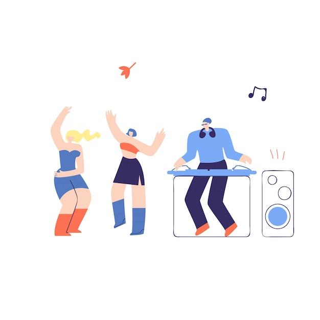 Disco people dj fest flat vector illustration Premium Vector