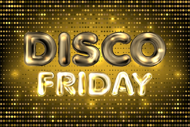 Discofriday banner with golden lights and tinsel Premium Vector