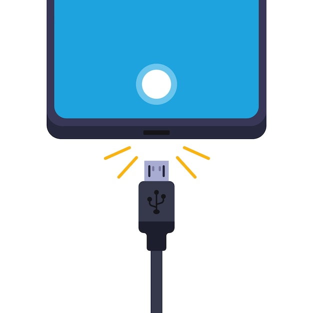 Disconnect the cell phone from the charger.   illustration  on white background. Premium Vector