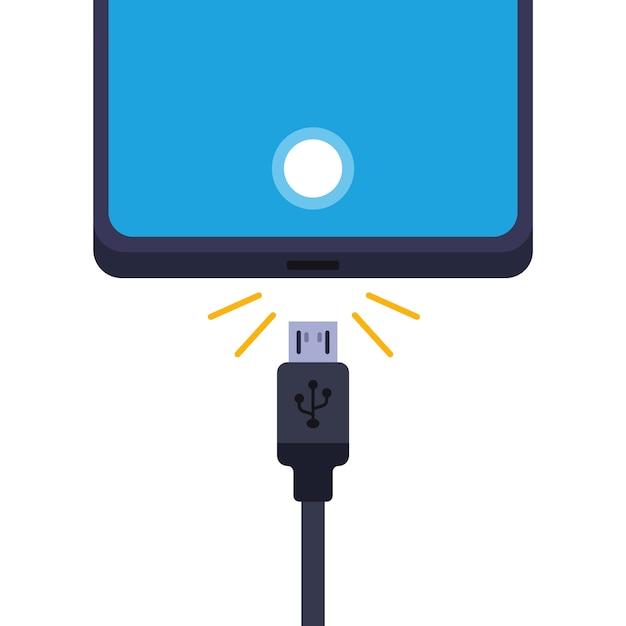 携帯電話を充電器から外します。白い背景のイラスト。 Premiumベクター