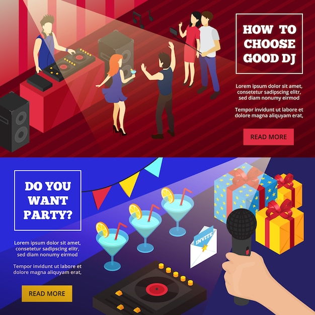 Discoteque party isometric banners Free Vector