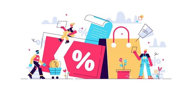 Дисконт и карта лояльности, программа лояльности и обслуживание клиентов, концепция очков наградной карты. изолированная концепция иллюстрации с крошечными людьми и цветочными элементами. изображение героя для сайта. Premium векторы