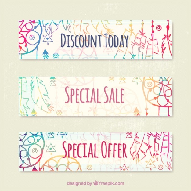 Discount banners with colorful hand painted boho elements