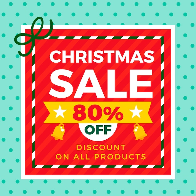 Discount for christmas in flat design Free Vector