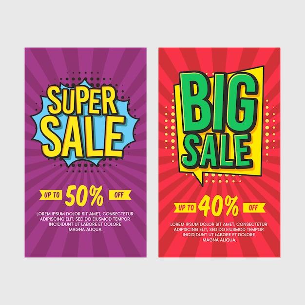 Discount comic banners set Premium Vector