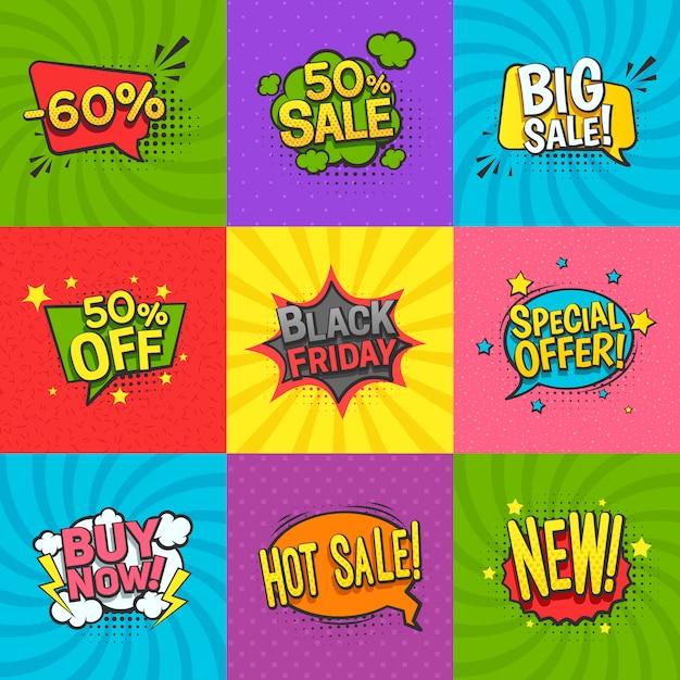 Discount comic labels set Free Vector