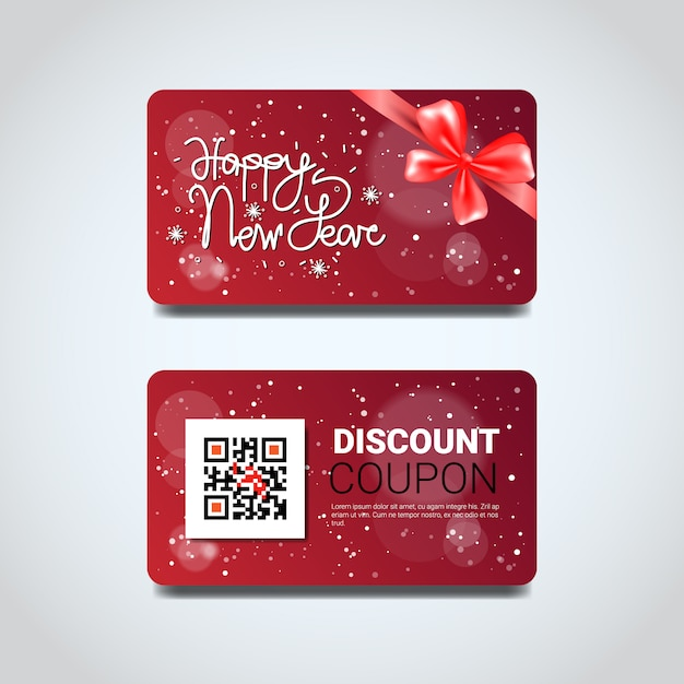 Discount coupon design voucher with qr code for present on merry christmas and happy new year isolated Premium Vector