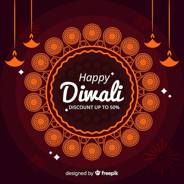 Discount coupon  diwali holiday banner Free Vector