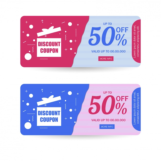 Discount coupon or gift card layout in two color option with 50% Premium Vector