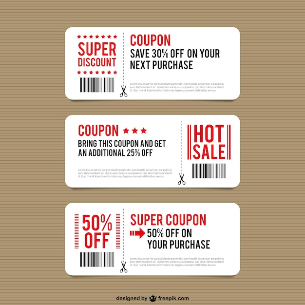 Discount coupon templates Vector Free Download