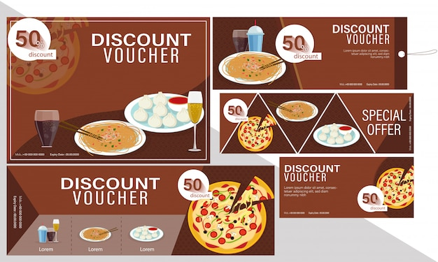 Discount coupon or voucher set for restaurants Premium Vector