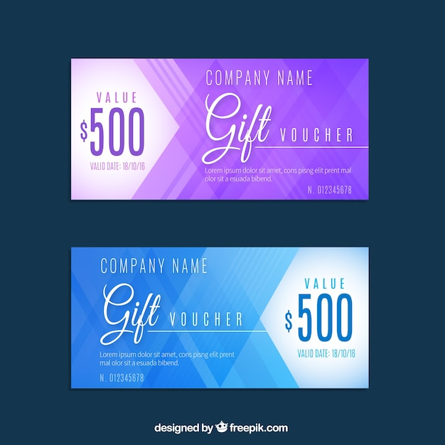 Discount coupons in abstract design Free Vector