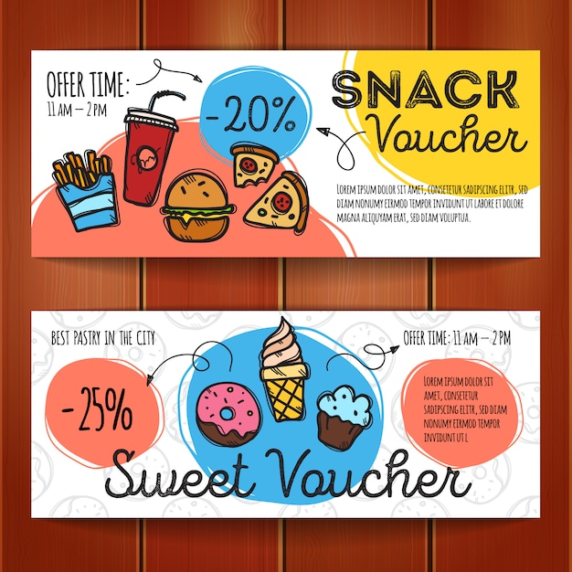 Discount coupons for fast food and desserts Premium Vector